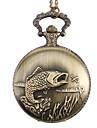 poissons unisexe alliage montre analogique a quartz de poche (bronze)