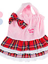 Lace Velvet Dress with Scottish Plaid Skirt for Dogs (XS-XL, Assorted Colors)