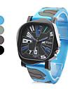 Unisexe Vert Armee Style de caoutchouc analogique montre-bracelet a quartz (couleurs assorties)