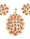 z&x® bersalut emas wintersweet dimasukkan anting-anting zirkon merah dan loket perhiasan set