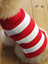 Cat / Dog Sweater Red Dog Clothes Winter Stripe Fashion / Christmas