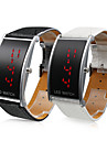 Couple\'s Red LED Digital PU Band Wrist Watches (1-Pair, Black & White)