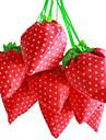 딸기 디자인 직물 쇼핑 가방 (색상 랜덤)