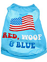 Caes Camiseta Azul Verao Bandeira Nacional / American / EUA