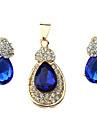 Ensemble de bijoux Imitation de diamant Alliage Mode Goutte Bleu Set de Bijoux Mariage Soiree Occasion speciale AnniversaireColliers