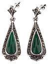 Vintage Sterling Silver Water-chute de pierres précieuses boucles d'oreilles diamant