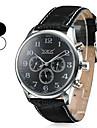 남자의 자동 기계 6 포인터 블랙 가죽 밴드 아날로그 손목 시계 (분류 된 색깔)