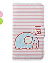 아이폰 4/4S (분류 된 색깔)를위한 만화 코끼리 패턴 가죽 하드 케이스