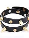 Rivet bracelet en cuir à double rangée de style Punk (couleurs assorties)