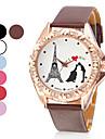 Torre Eiffel estilo pu analógico relógio de pulso de quartzo das mulheres (cores sortidas)