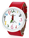 Damski PU Analog Quartz Wrist Watch (Red)