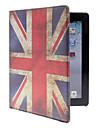 Volledig hoesje van PU leer met afbeelding van Britse vlag, met standaard, voor iPad 2/3/4