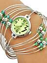 Women\'s Multi-Strand Rings Bangle Design Green Dial Quartz Analog Wrist Watch Cool Watches Unique Watches