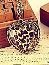 Facetas de vidro de bronze de amor pêssego coração colar longo N19