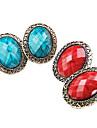 Versão coreana do novo oval oca seção rendas brincos de pedras preciosas brincos retro feminino E351