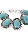 Vintage Bohemian Style Turquoise Oval Chain Bracelet