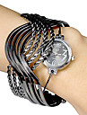 Kvinners Multi-Strand Rings Bangle Design Black Dial Quartz Analog armbaand watch