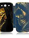 Para Samsung Galaxy Capinhas Case Tampa Flip Estampada Corpo Inteiro Capinha Caveira Couro PU para Samsung S3