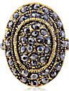 Vintage Style Stedded With Crystals Oval Ring