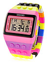 Women\'s Block Brick Style LCD Digital Colorful Plastic Band Wrist Watch