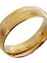 titanio dorado anillo de la venda de acero con el senor del anillo grabado laser de diseno