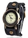 Women\'S Round Pu Quartz Analog Wrist Watch