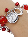 Vrouwen White Dial Pattern Red Heart Beads band kwarts armband horloge Analoog