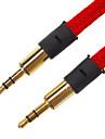 3,5 milimetros macho para macho cabo de audio Flat-Tipo Tela vermelha (1,5 M)