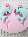 A Pair of Dolphin Silicone Mold Fondant Molds Sugar Craft Tools Chocolate Mould  For Cakes