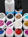 15PCS 12의 색깔 8ML 장식 조각 UV 색깔 젤 네일 아트 세트 C