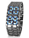 Men\'s Lava Style Blue LED Digital Silver Steel Wrist Watch