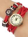 Women's Vintage Round Dial Leather Band Quartz Analog Bracelet Watch (Assorted Colors)