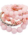 Alloy Bracelet Multilayer European Rose Elastic Beads Bracelet