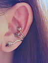 Leaves Ear Clip Earring Puck Rock Style Earring with Antique Brass for Left Ear(1 Piece)