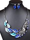 Elegant Leaves Women's Alloy (Necklaces&Earrings) Gemstone Jewelry Set(Green,Blue,Purple,Black)