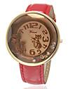 Women\'s Kitten Pattern Rhinestone Dial Pu Band Quartz Analog Wrist Watch (Assorted Colors)