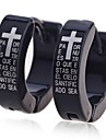 Lureme®Men\'s Titanium Steel Cross and Scriptures Pattern Earrings \\\\\\\\\\