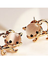 Vintage Lovely Cat\'s Eye Alloy Golden Drop Earring(1 Pair)