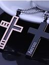 Персональный подарок розовое золото Мужская нержавеющей стали крестообразный выгравированы кулон ожерелье с 60 см цепи