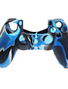 Azul marinho Protctive Capa de Silicone e 2 PCS rosa Grips Polegar da vara para PS4