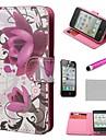 Purple Rose Fleur COCO FUN ® Wallet PU cuir cas avec le stand pour l\'iPhone 4S Inclus Film et Stylus