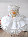 Dog Dress / Clothes/Clothing White Winter / Summer / Spring/Fall Hearts / Pearl Wedding