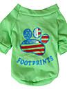 개 티셔츠 옐로우 / 그린 강아지 의류 모든계절/가을 국립 국기 / 미국 / 미국