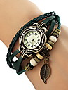 Women's Watch Bohemian Leaf Pendent Leather Weave Bracelet Cool Watches Unique Watches Fashion Watch