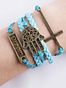Vintage Dream Palm Charm Infinity Bracelet Hand Knitting Brand Fashion Cross Rope Leather Bracelets