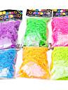 arco-íris colorido estilo tear borracha Noctilucence band (600 pcs bandas + 24 pcs C ou S clips)