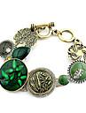 Bracelet à breloques de modèle de mode Golden Green Gem Flower (1 PC)