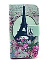 Rose Eiffel Tower Pattern PU Leather Case with Card Holder and Stand for Samsung Galaxy Ace 2 I8160