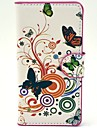 Butterflies with Flowers Pattern PU Leather Hard Plastic Case for Huawei G6