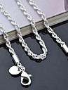 "Lureme®925 Sterling Silver Plated 3mm Braided Chain Necklace 16-24""L"